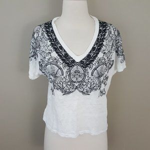 MAJE White Black Embroidered Linen Crop Top 1 S